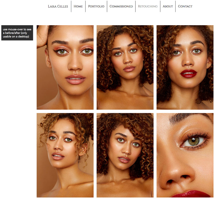 before and after images for retouching comparison
