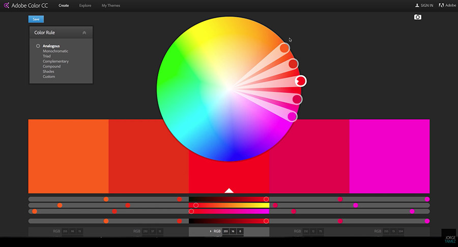 Analogous colors in Adobe Color CC's color wheel.